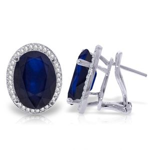 GOLD FRENCH CLIPS EARRING WITH DIAMONDS & SAPPHIRE